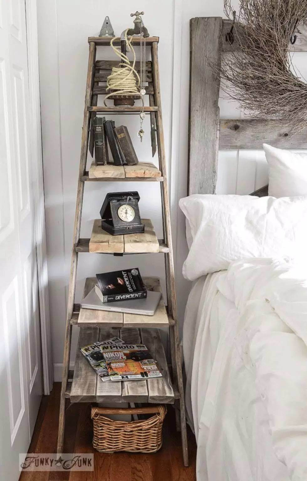 Elegant 17. Upcycled Orchard Ladder Turned Nightstand