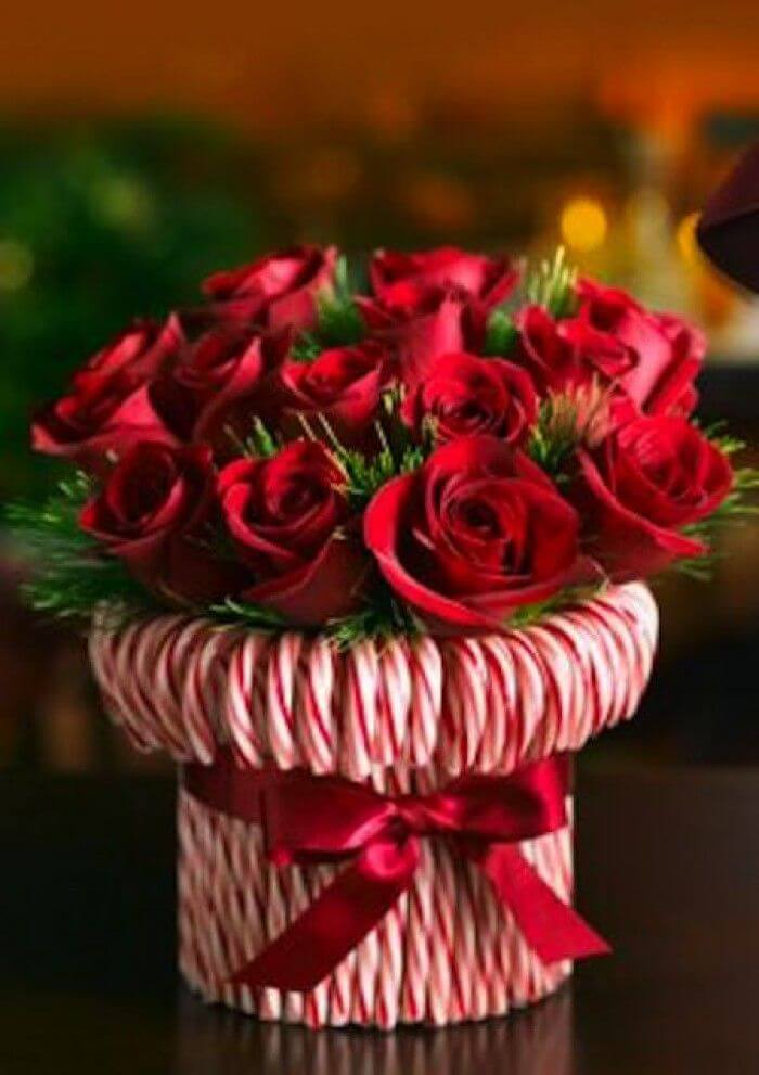 Sweet Crisp Candy Cane Rose Bouquet