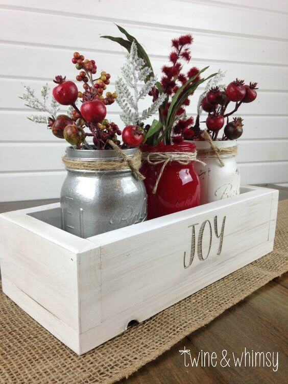 Mason Jar Homemade Holiday Centerpiece Hack