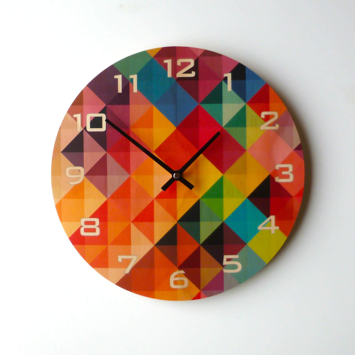 Colorful Clock Painted On Pine