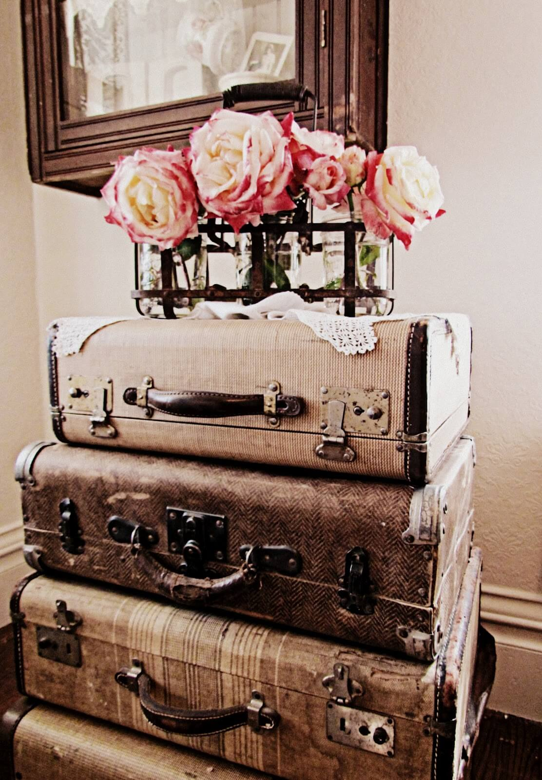 Vintage Decor Part - 18: 20. Super Simple Stacked Luggage Nightstand