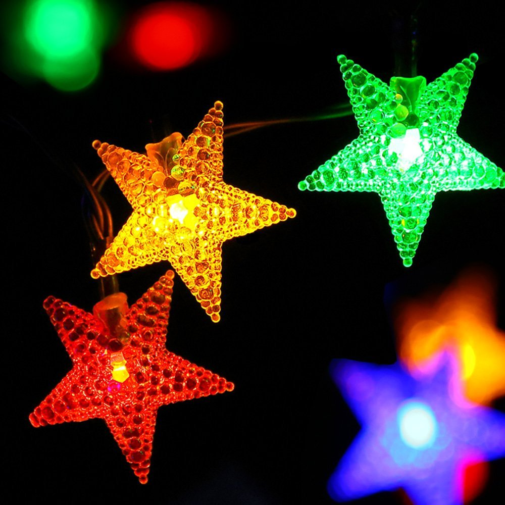 star string lights - Solar Powered Outdoor Christmas Lights