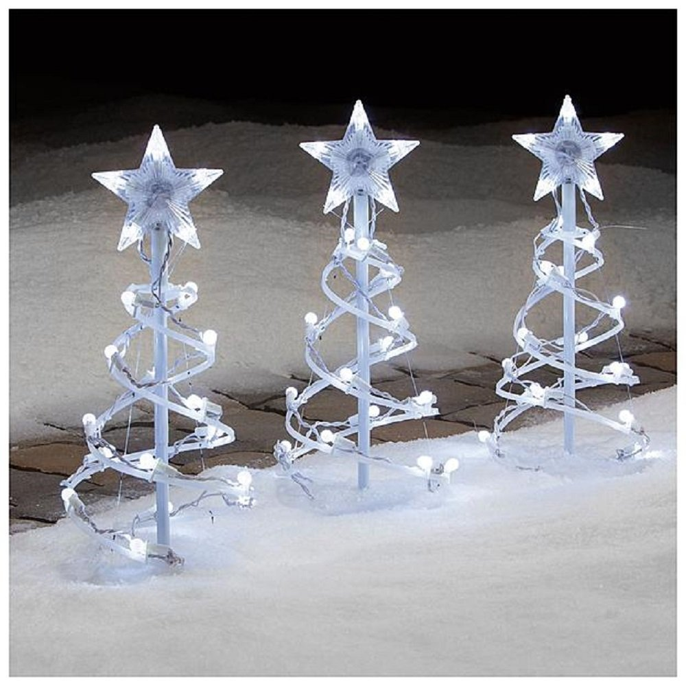 spiral tree pathway markers - White Outdoor Christmas Tree