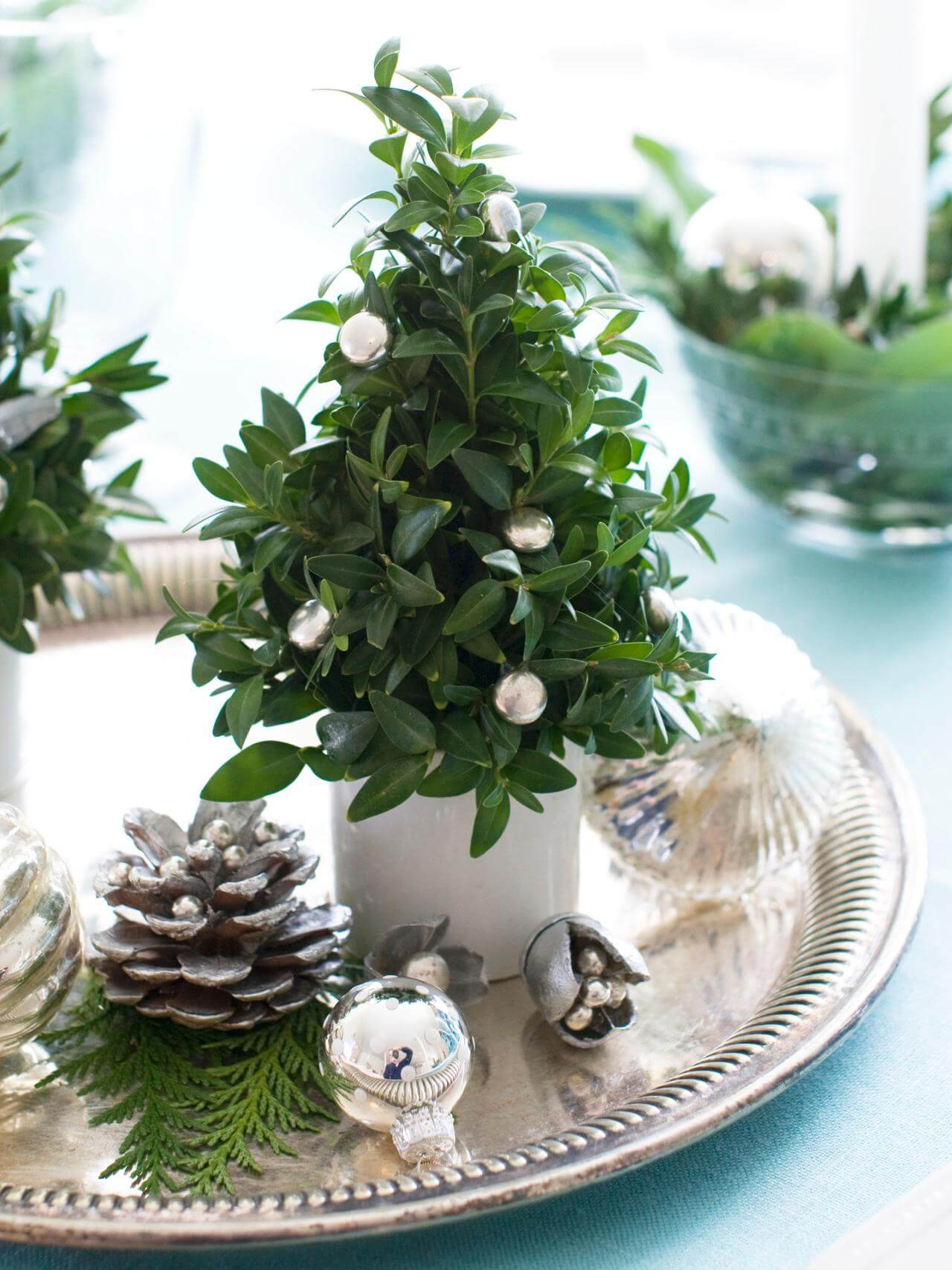Refined Silver Platter Miniature Christmas Trees