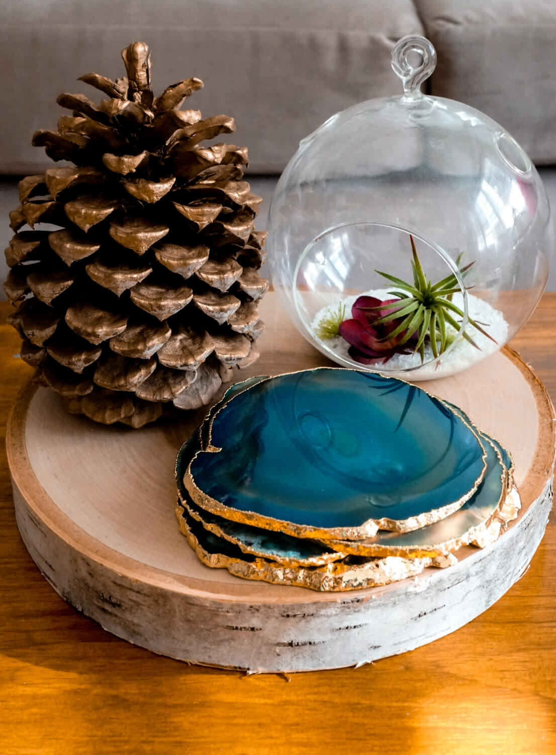 Agate Stone Coasters With Gold or Silver Trim