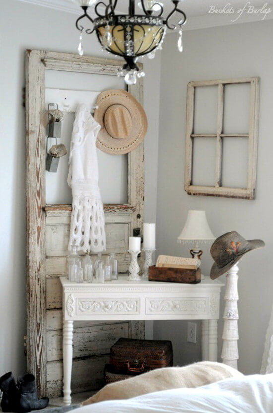 27 accessory organizer made from an old door frame - Vintage Bedroom Decor Ideas