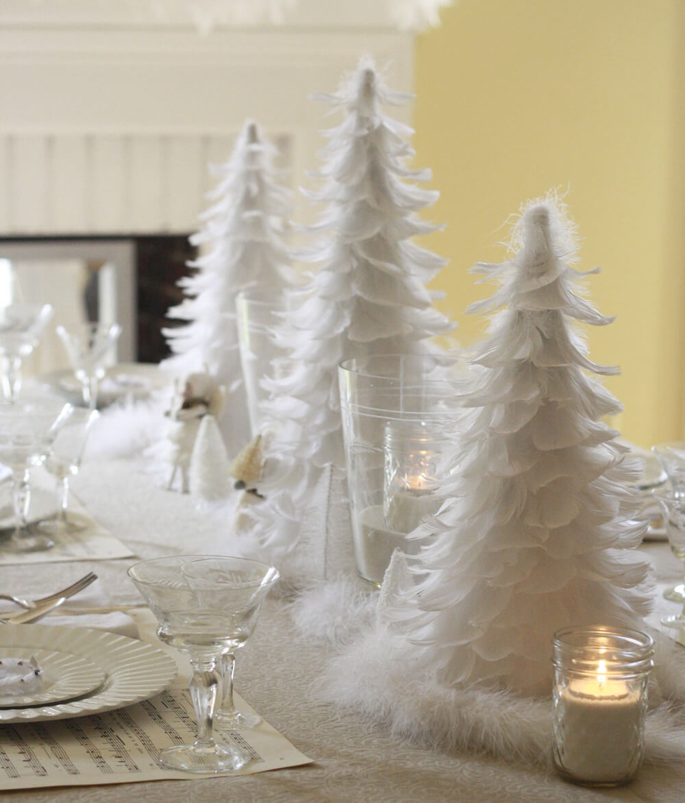 28 best diy christmas centerpieces ideas and designs for 2018 feathers and crystals white christmas table diy solutioingenieria Images