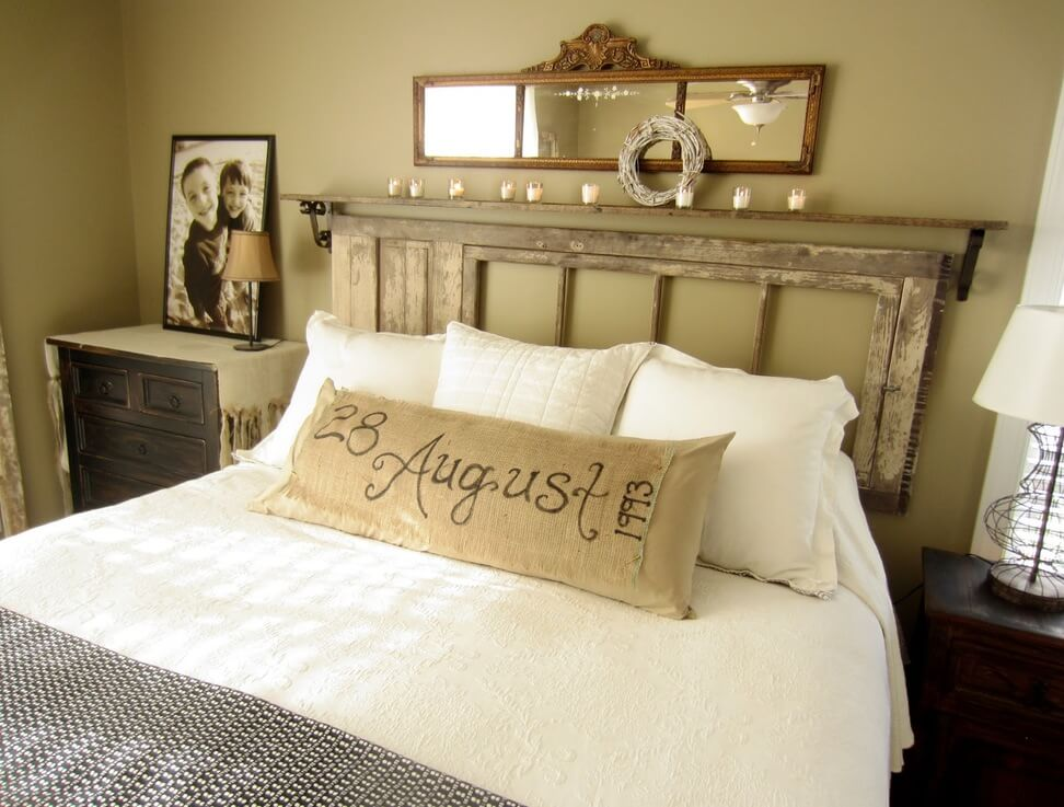 28 reclaimed door turned floating headboard - Ideas For Bedroom Wall Decor
