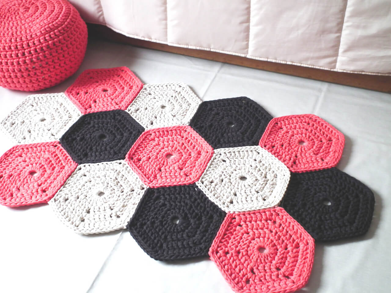 Crocheted Rug In Geometric Design