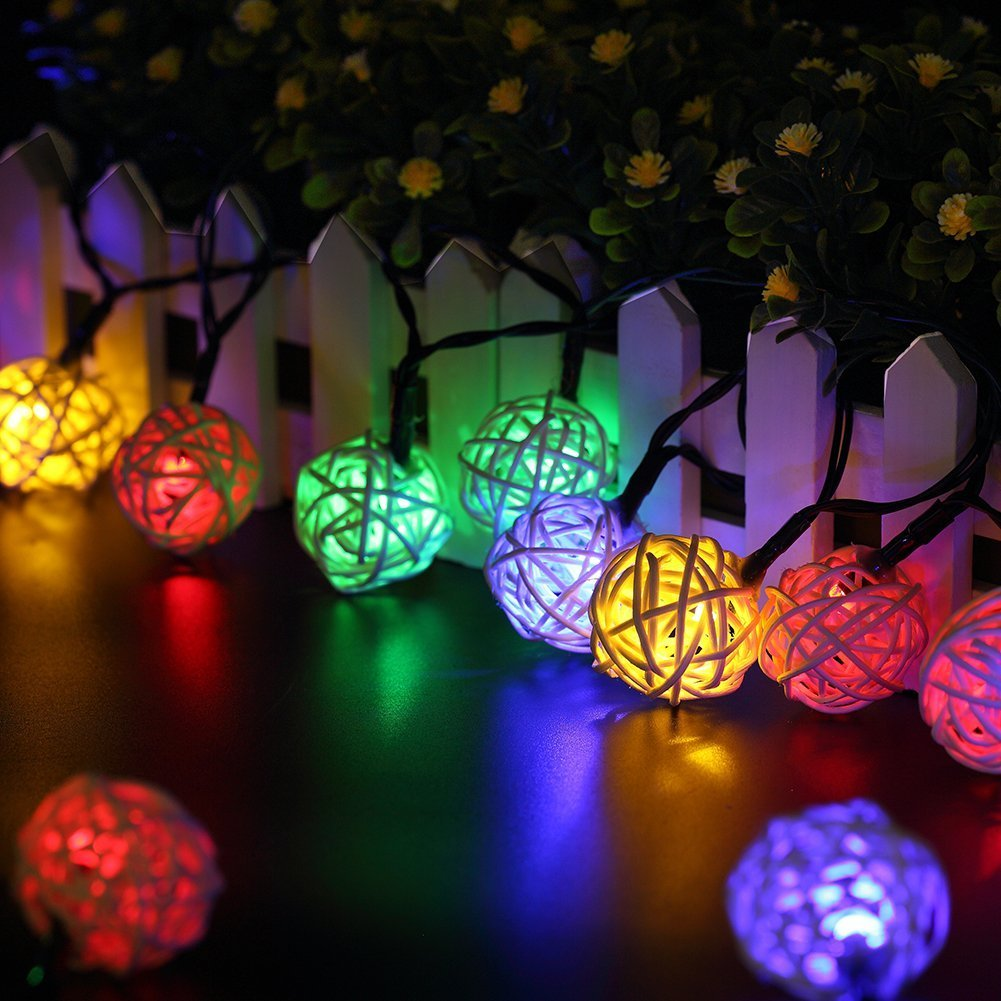 multicolored fairy lights - Solar Powered Outdoor Christmas Lights
