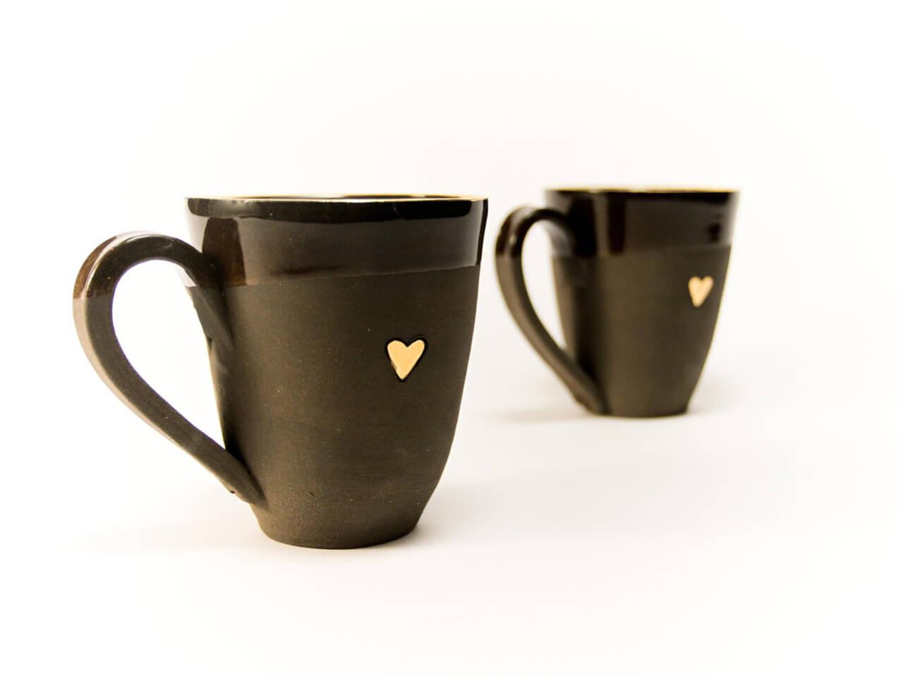 Handmade Black Coffee Mug With Gold Heart