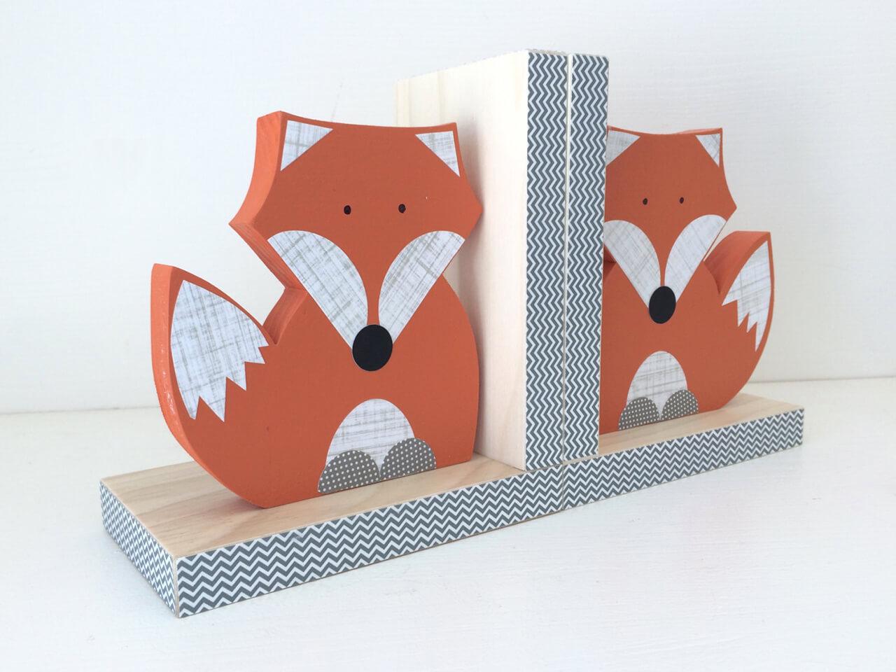 Wooden Fox Bookends