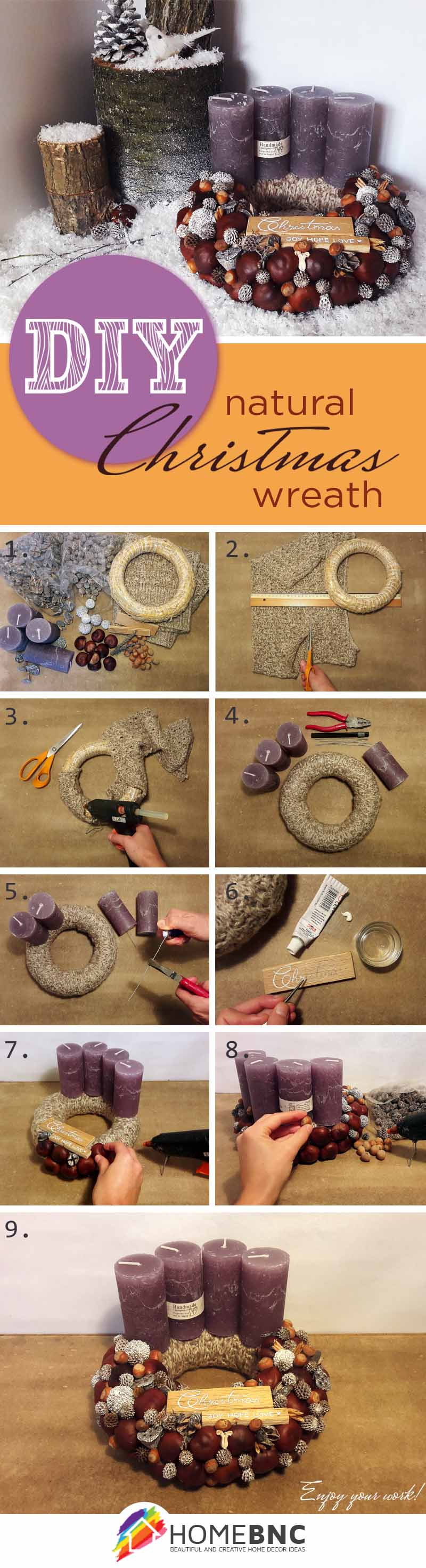 DIY Christmas Table Wreath with Candles