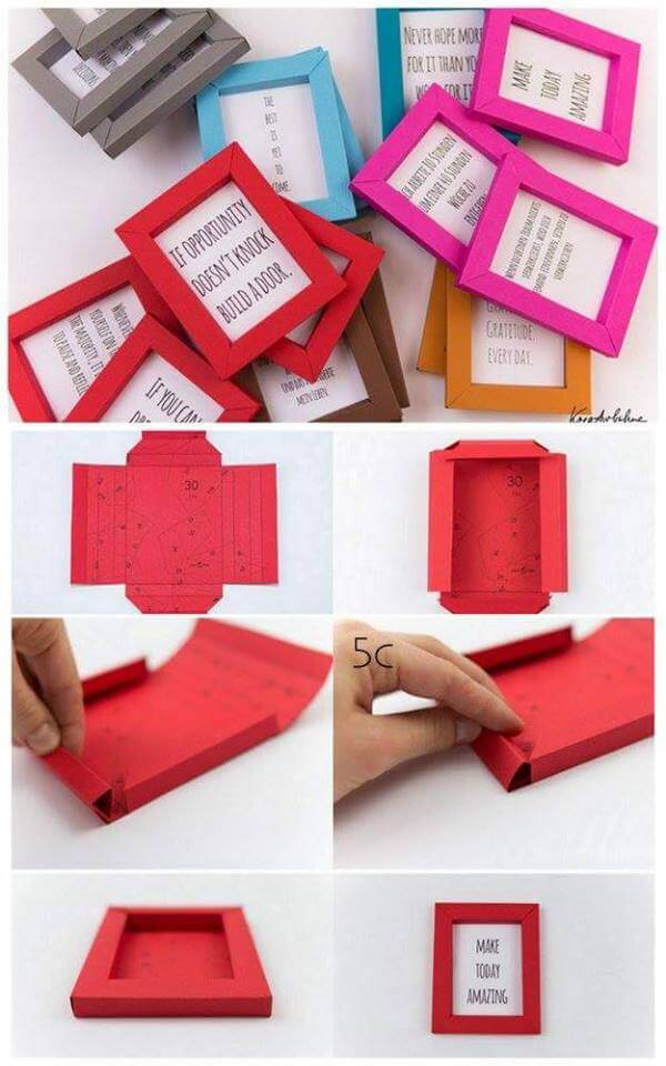 DIY Colorful Cardstock Photo Frames