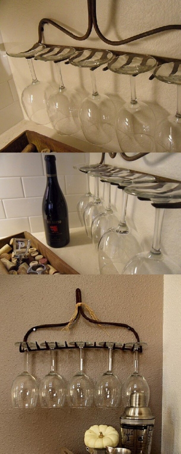 Salvaged Antique Rake Wineglass Holder