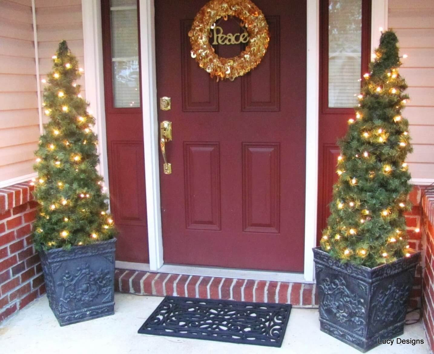 Outdoor christmas tree decorations - Glowing Front Porch Tree Duo