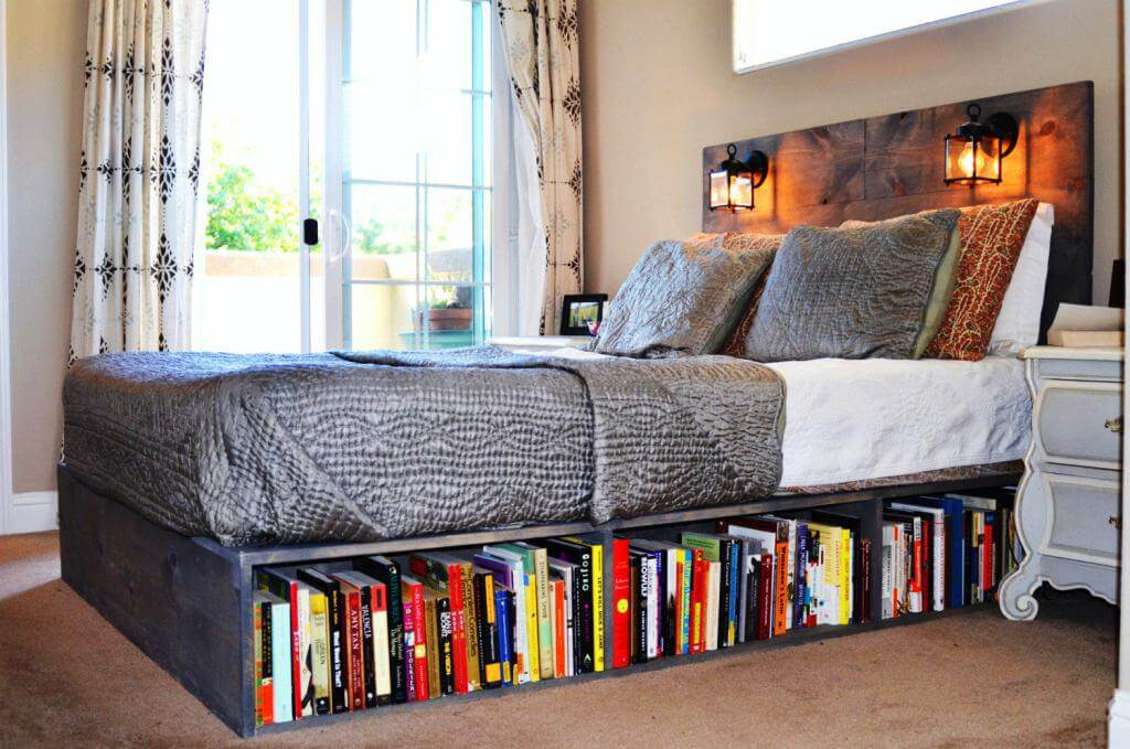 install a bookshelf beneath the bed - Clever Storage Ideas For Small Bedrooms