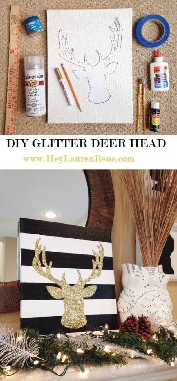 Rustic Meets Glam with Glitter Deer Art