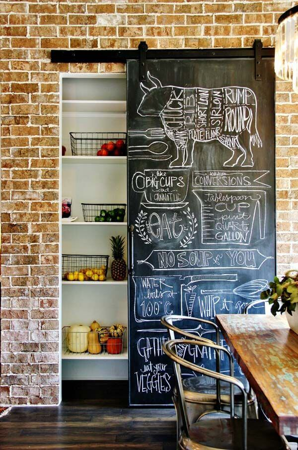 3 Hanging Chalkboard Pantry Door With