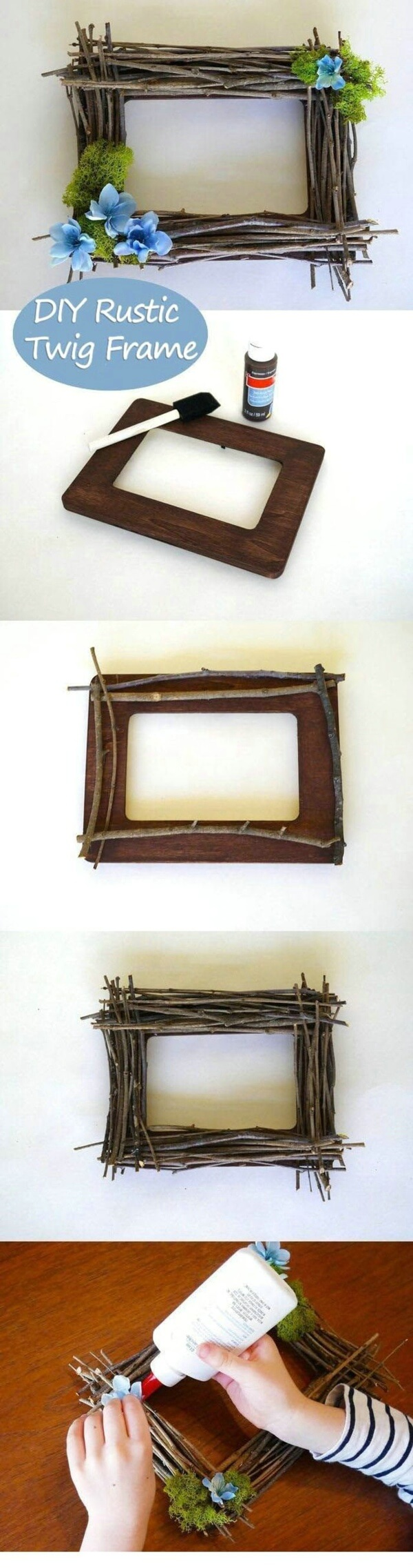 28 best diy photo and picture frame crafts ideas and designs for primitive frame from flowers and twigs jeuxipadfo Choice Image