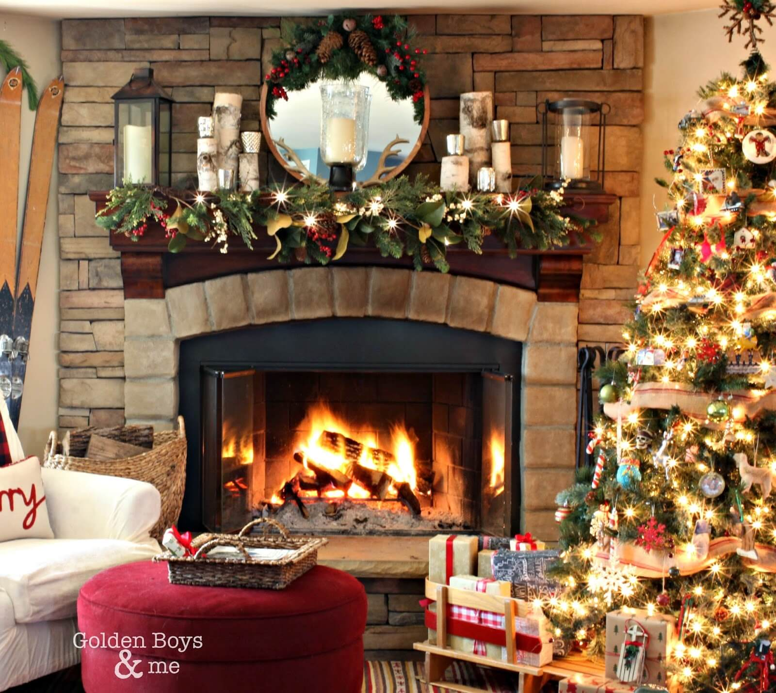 decorate your christmas mantel with natural birch pillars - Christmas Mantel Decorating Ideas