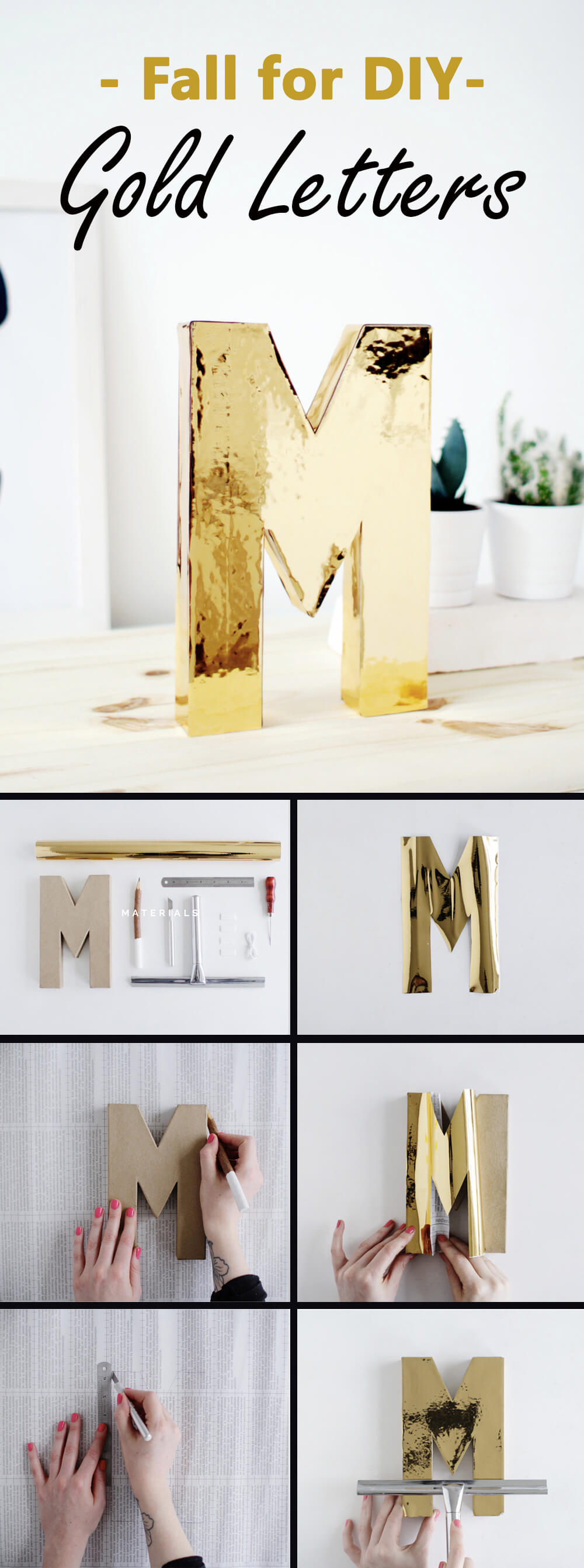 DIY Golden Letters Look Like Liquid Metal