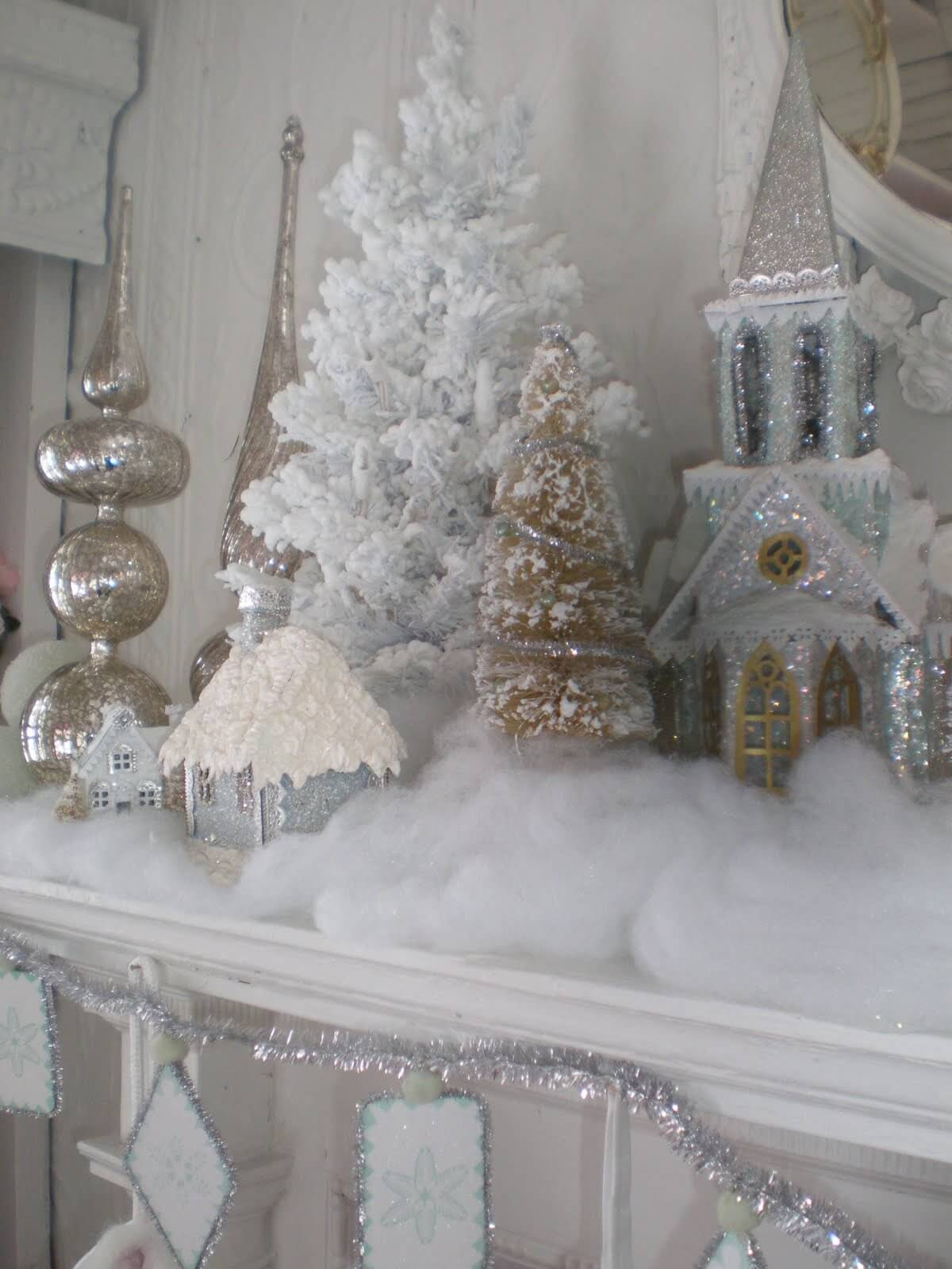 Silver and White Snow Village
