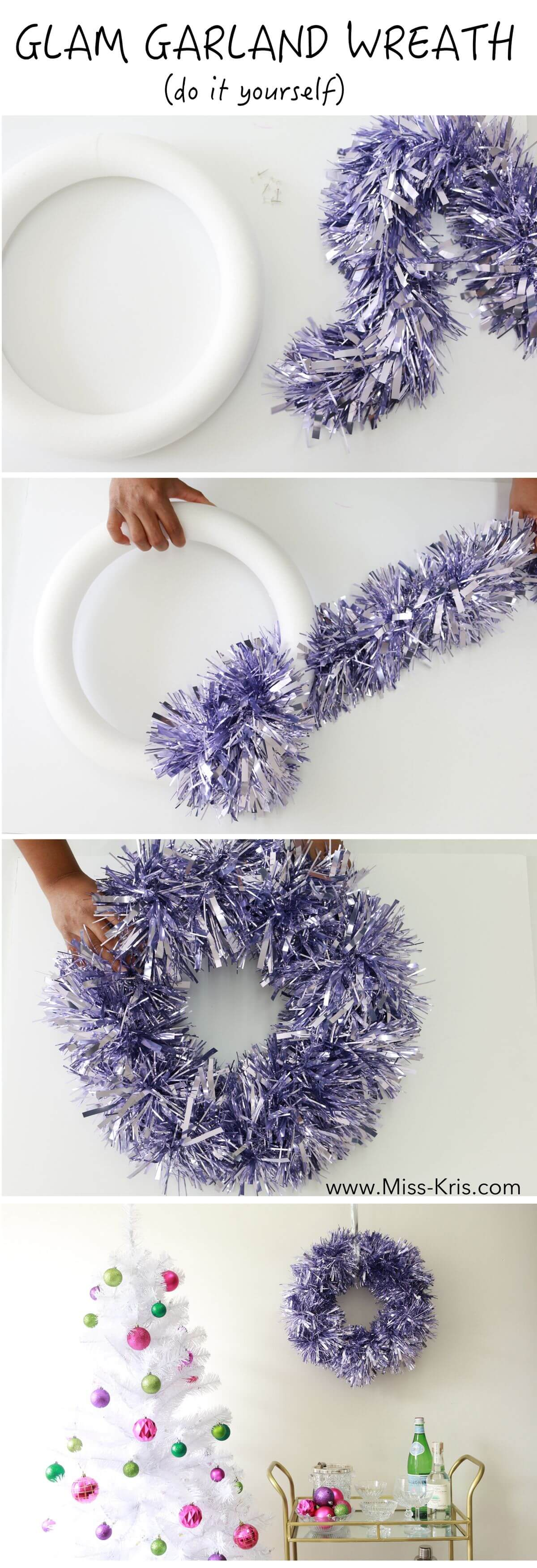 Add Some Sparkle with a Tinsel Wreath