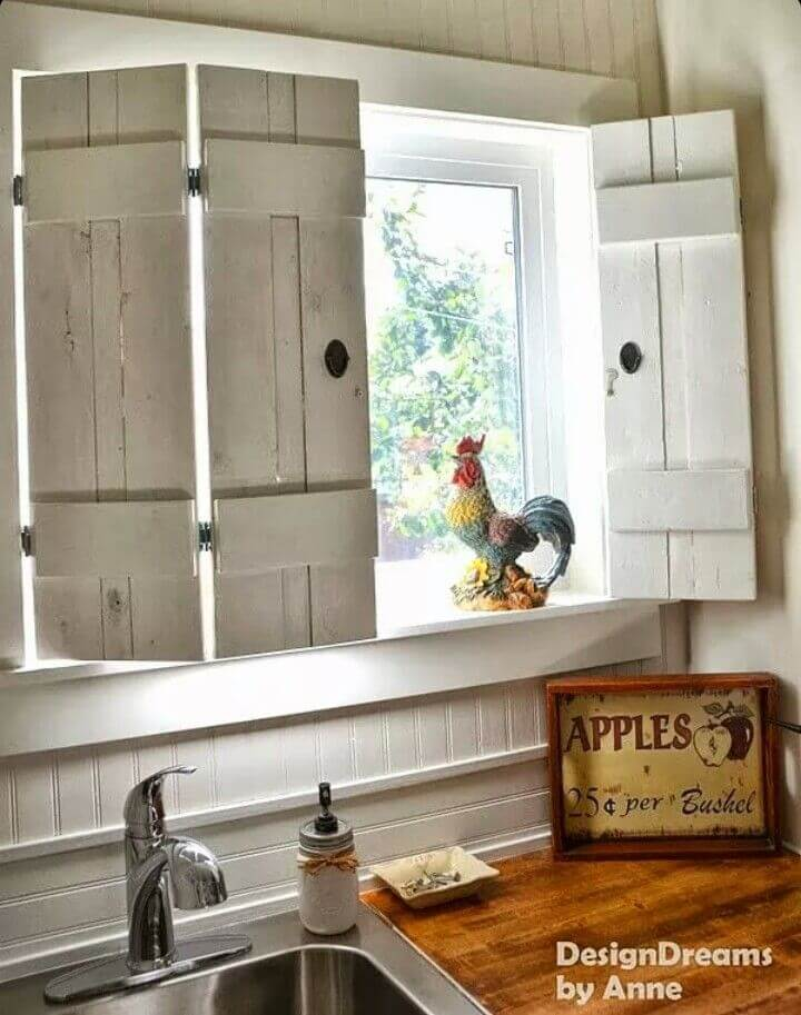 Barnyard Picket Window Shutters with Antiqued Hardware