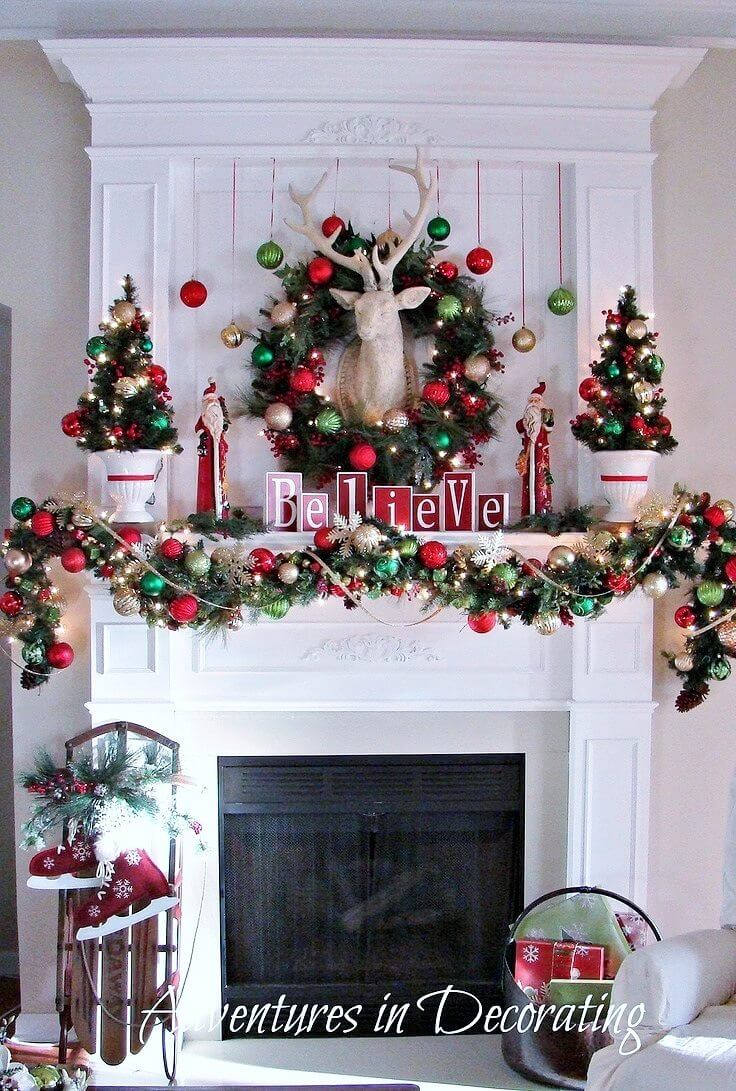 Christmas Mantle Decorating Ideas Part - 17: 9. Classic Red And Green Ornaments And Greenery