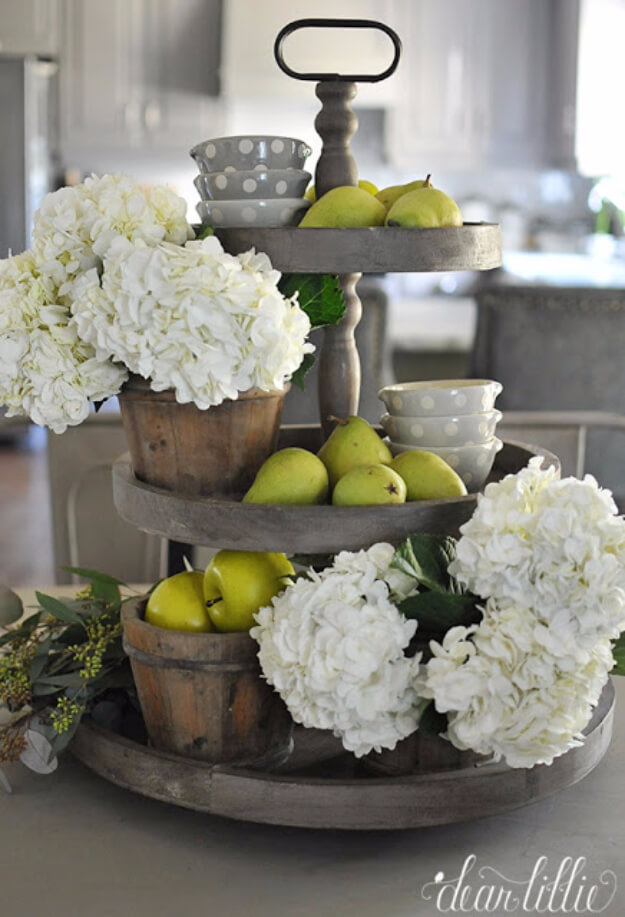 Weathered Gray Tiered Fruit and Flower Stand
