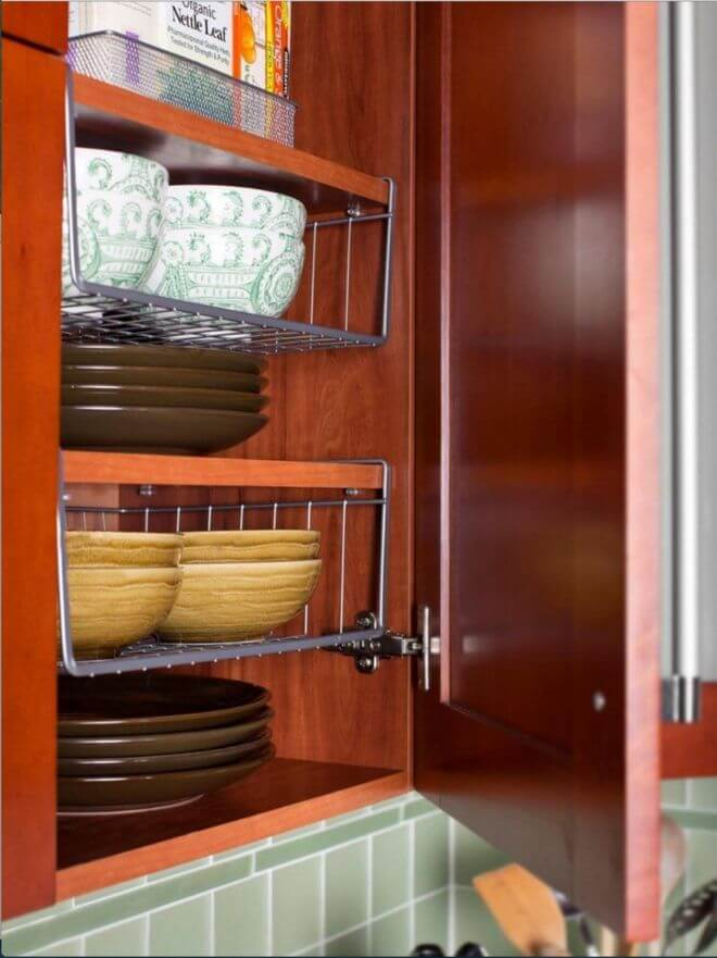 Hanging Shelves Double Cabinet Space