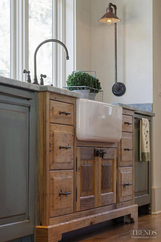Rustic Cottage Kitchen Ideas Part - 43: Porcelain Farmhouse Sink In Vintage Cabinet