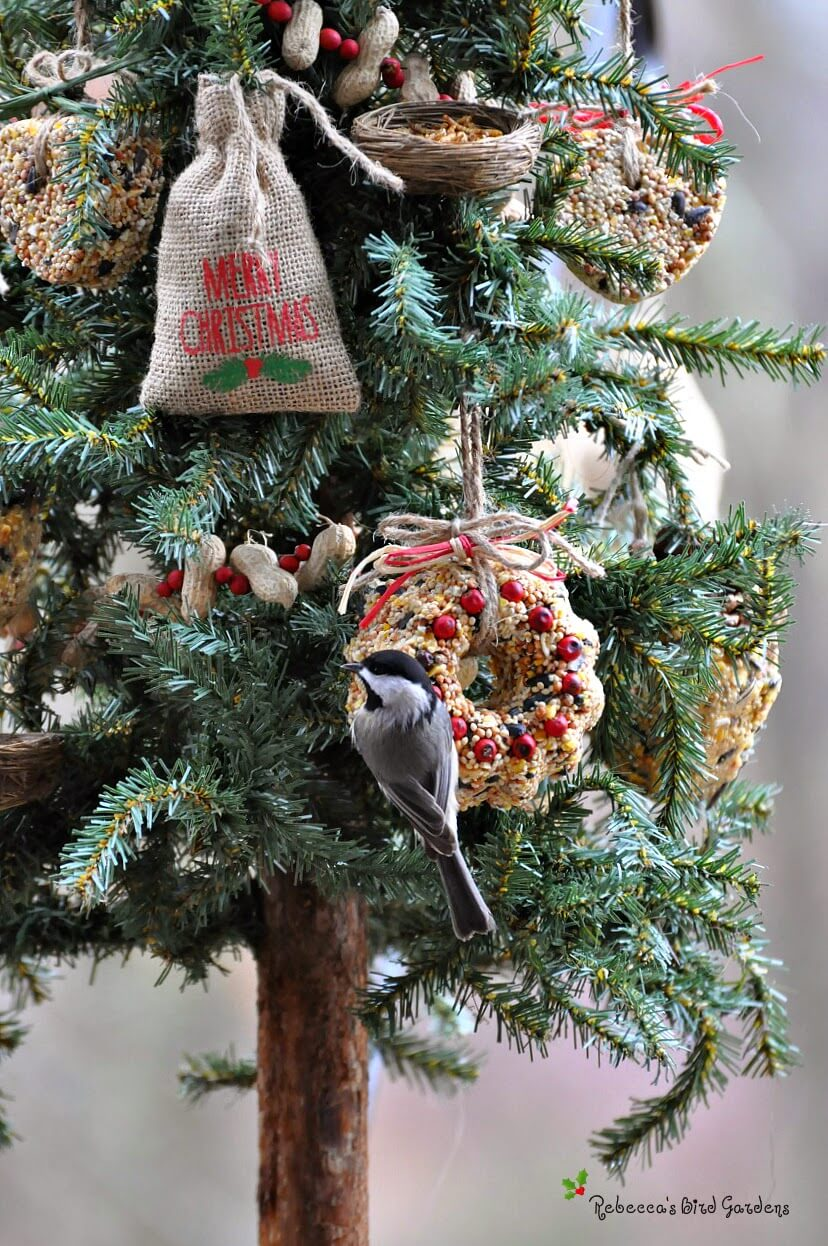natural bird seed ornament tree - Natural Outdoor Christmas Decorations