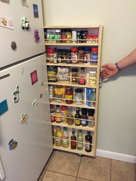 Rolling Spice Rack Beside the Fridge