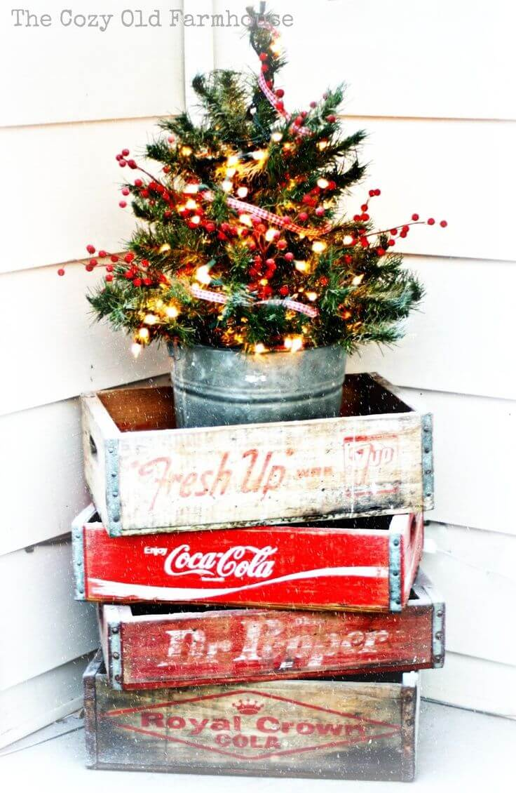 stacked vintage outdoor christmas tree dcor