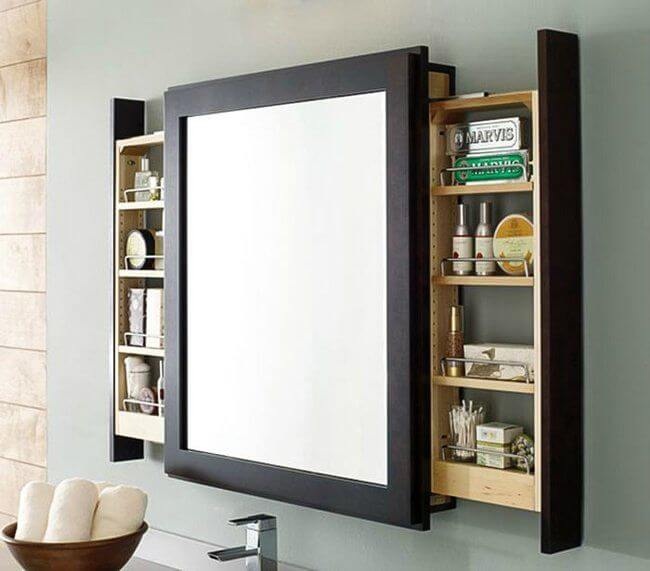 Sliding Shelves Mounted Behind Bathroom Mirror