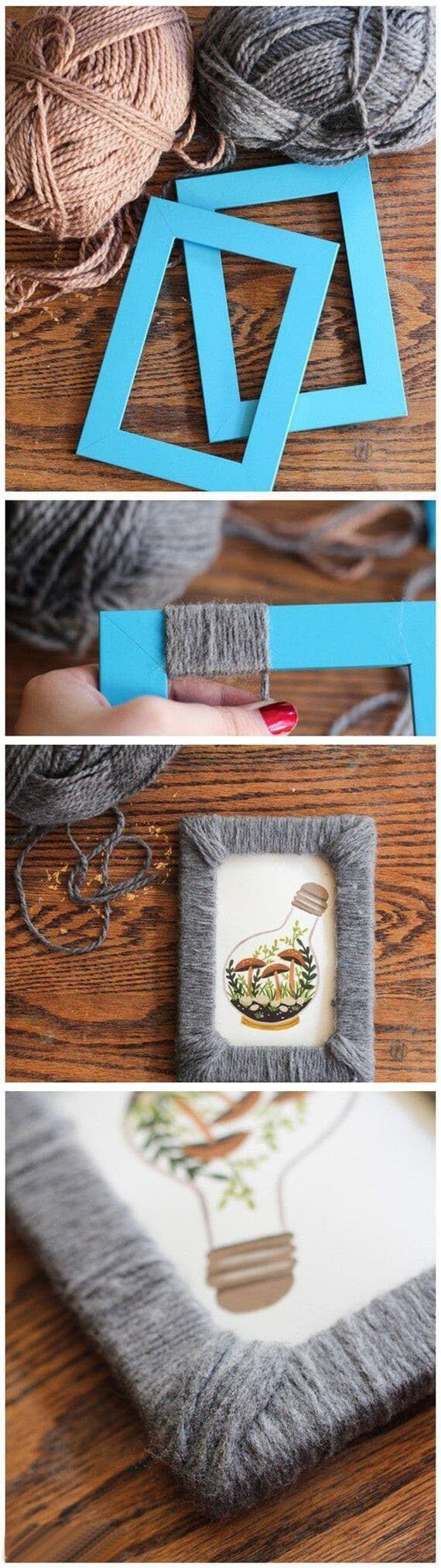 28 best diy photo and picture frame crafts ideas and designs for 15 add texture and color with yarn jeuxipadfo Choice Image