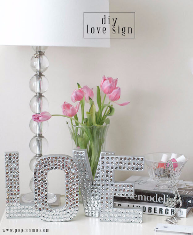DIY Silver Sparkle Disco Letters