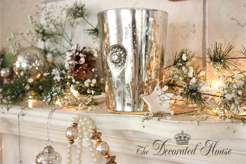 17 ethereal mercury glass dusted with snow - Christmas Mantel Decor