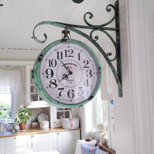 Vintage Hanging Pharmacy Clock in Weathered Copper