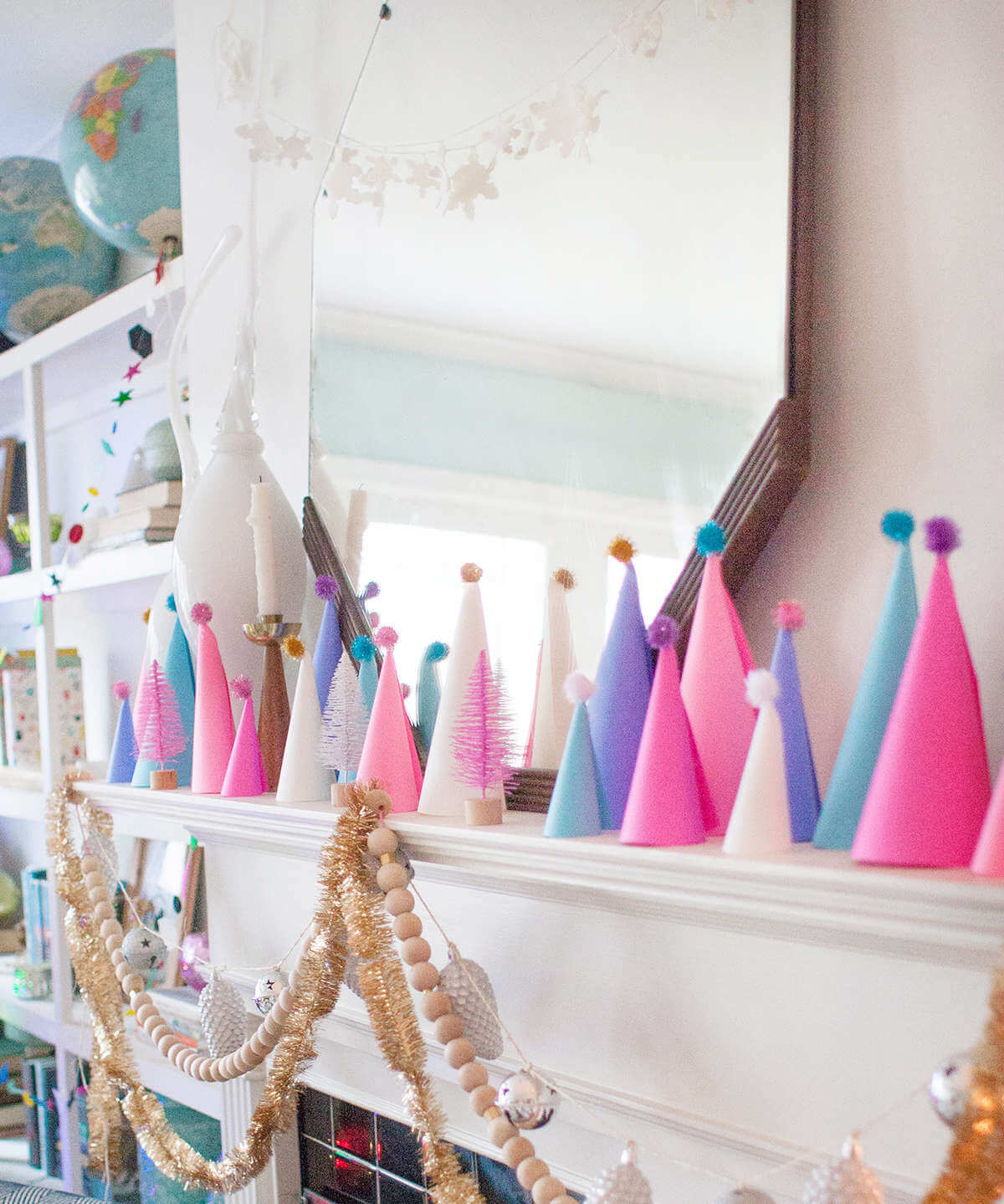 A Whimsical Technicolor Christmas Mantel Design