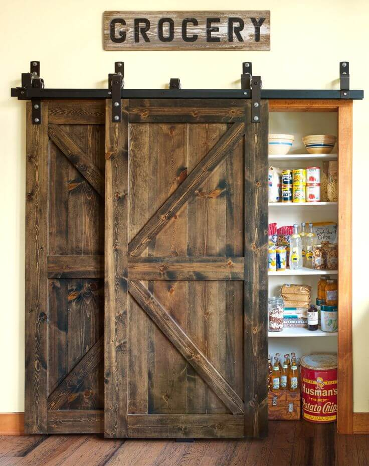Double Hanging Barn Door Food Pantry