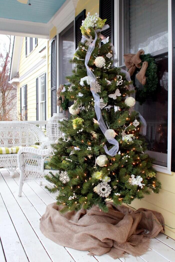 floral garden christmas tree with burlap skirt - Burlap Outdoor Christmas Decorations
