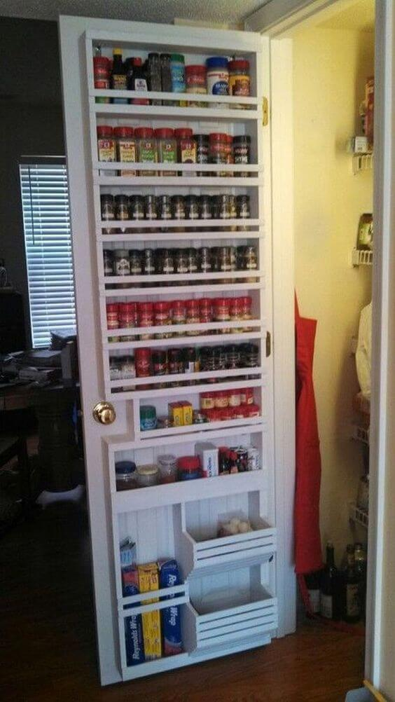 Pantry Door Transformed Into a Spice Rack