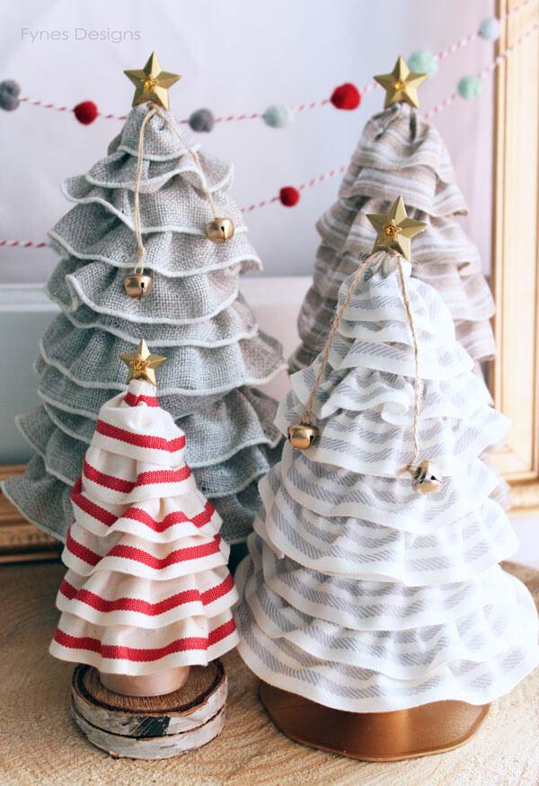 Festive Burlap Ribbon Christmas Trees