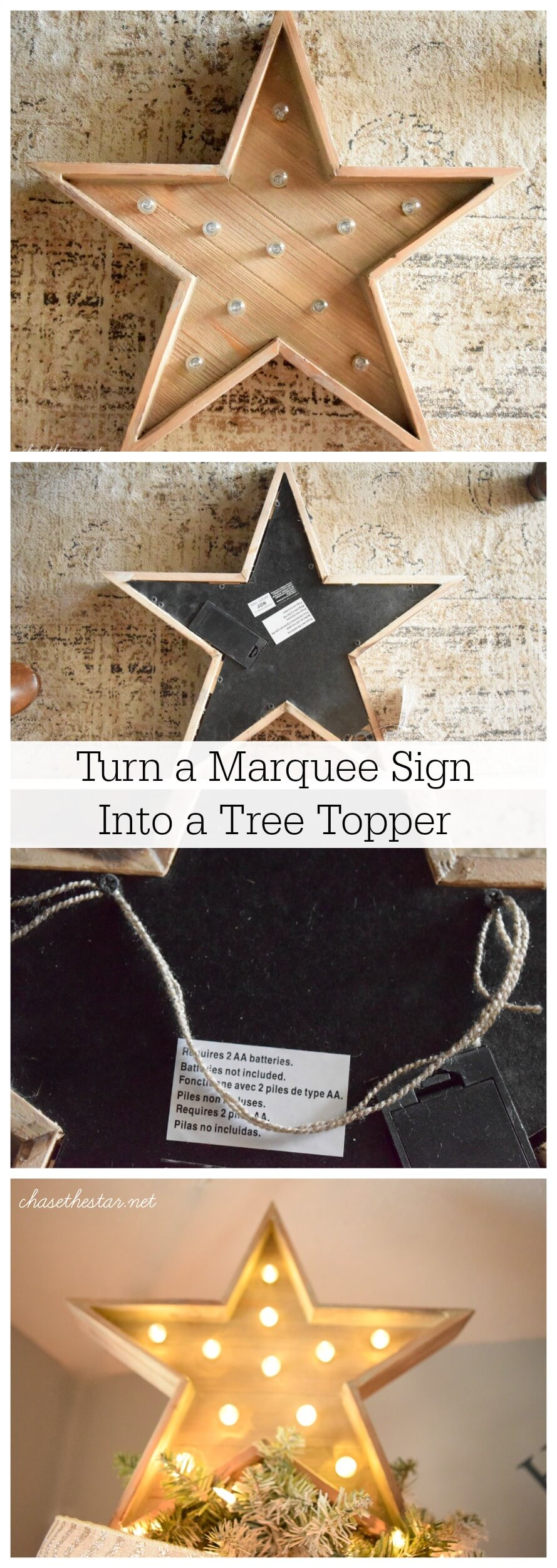 Turn a Star Marquee into a Tree-Topper