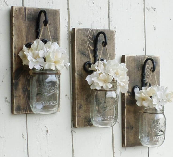 Suspended Mini-Mason Jar Bud Vase Trio