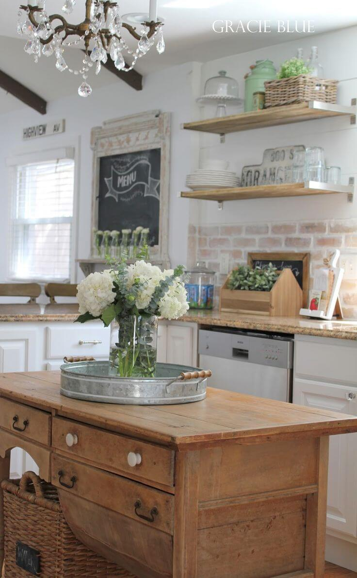 Vintage Desk As Farmhouse Kitchen Island