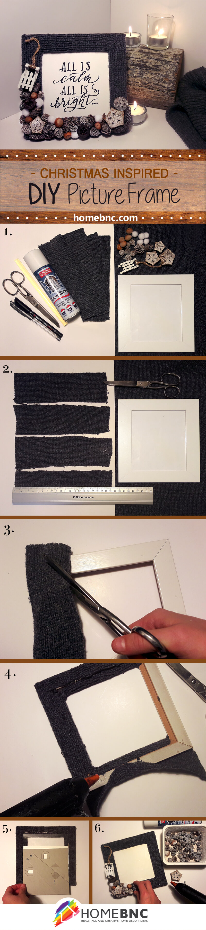 Christmas inspired diy picture frame homebnc how to easily create a cute picture frame for christmas christmas inspired picture frame jeuxipadfo Choice Image